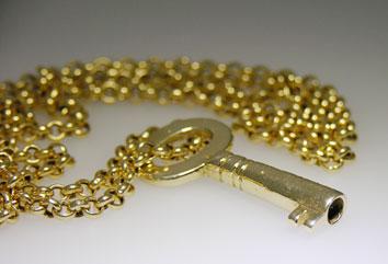 Antique Key gold pendant by Toronto Jeweller Alexandra Schleicher